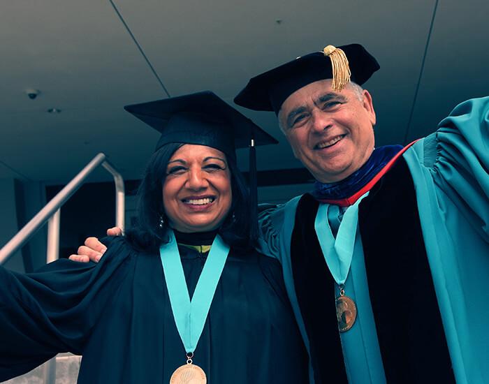 Trustees Kiran Mazumar and Sheldon Schuster